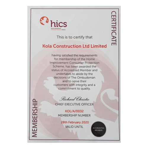 HICS Kola Construction Certificate